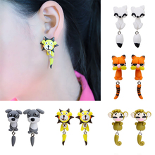 Hot Sale 100% Handmade Polymer Clay Animal Earrings Cute Cat Red Fox Lovely Dog Soldier Mouse Tiger Stud Earrings for Women(China)