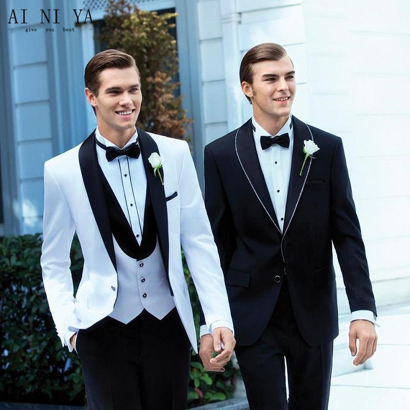 men suits Handsome Groom Wear Tuxedos wedding suits Ivory Three-piece(jacket+pants+vest+bow tie) party Prom Suit