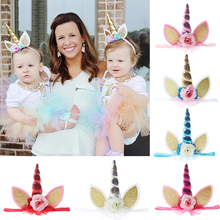 2017 New Fashion Girls Unicorn Headbands Children Hair Accessories Kids Unicorn Headwear Photo Props Outfit Ornaments(China)