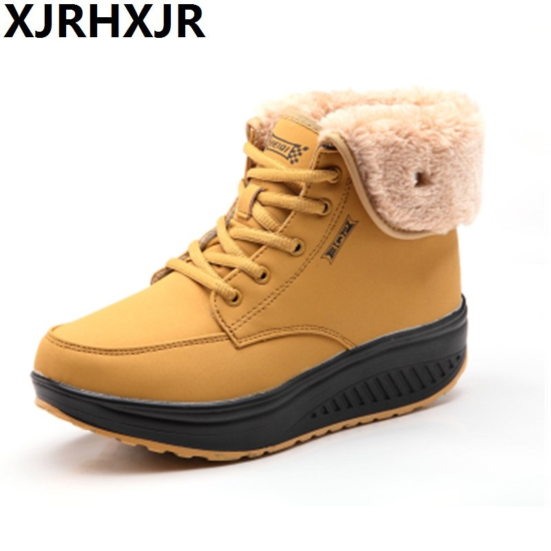 Lace Up Women Winter Casual Shoes Warm Plush Slim Anti Skid Wedge Swing Shoes Thick Sole Platform Height Increase Fur Snow Boot<br>