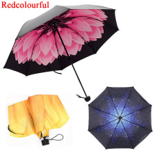 Redcolorful Umbrella Rain Women Three-folding Color Coating 3D Flower Print Sunny and Rainy Umbrella Parasol Paraguas Anti UV