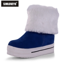 SIMLOVEYO Platform shoes Winter Women boots Plus size 34-43 High quality Flock Fashion Sweets Black Blue Red Warm Lovely Ladies(China)