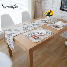 Simanfei 2017 New Arrival Cotton Linen Tablecloth Butterfly Printed Rectangular Table Runner Practical Beige 30x200 Classic Mats(China)