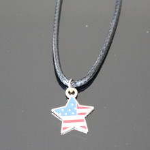 American Flag Colored five-pointed Star Pendant Necklace Statement For Women Jewelry Accessories Bijoux Wholesale NA848(China)