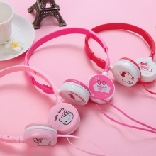 Cartoon Cute headphones Hello kitty earphone With Microphone for MP3/MP4/Computer Mobile Phone for iphone samsung xiaomi HTC(China)