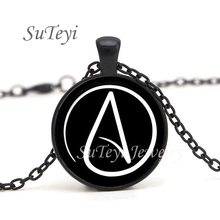 2017 Hot arrived Atheist Atheism Symbol Silver Pewter Necklace Pendant gifts glass Necklace Pendant Sweater Chain jewelry Gift(China)