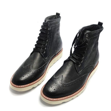 2017 New Men's Current Carved Genuine soft Leather Cowhide Brogue Wedding Office Ankle Boots Lace-Up Male Boots Footwear Hombre