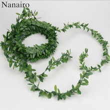 7m Artificial Green Flower Nylon iron wire Leaves Rattan DIY Garland Accessory For Wedding Decoration Artificial Scrapbooking