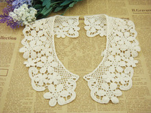 hot sell 1 Pair Fashion Beige Flower Lace Detachable Collar High Qualtiy Water Soluble DIY Accessories Lace Collar for Ga