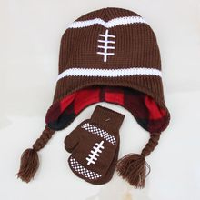 Rugby Children Hat Mitten Set Winter Kids Boys Hat Glove Set Warm Toddler Winter Beanie 0-3Y(China)