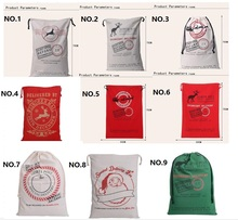 Christmas Gifts Sack Bags Christmas Large Canvas Santa Claus Drawstring Bag With Reindeers Monogramable free shipping CC04