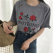 hothing print t-shirt rose harajuku t-shirt lady 2017 summer leisure hole short sleeve t-shirt single code friend shirt(China)
