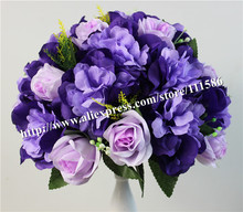 SPR-dark purple 10pcs/lot wedding road lead artificial wedding table rose flower wall center flower ball decoration