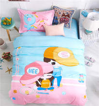 children play tennis bedding sets 100% cotton coverlets bed linens single twin double size girl's bedroom decor blue pink color(China)