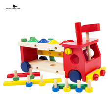 Toys for Kid Baby Educational Wooden Toy Disassembly Screw Nut Vehicle Car Knock Ball Developmental Baby Toys Birthday Gift(China)