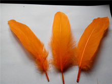 Wholesale 500 PC/lot of 15-20cm / 6-8inches DIY orange goose feather dyeing single feather crafts wedding tiara(China)
