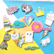 1 PC Cartoon Badges for Clothing Kawaii Acrylic Badges Icons on The Backpack Icons on The Pin Brooch Female Badge(China)