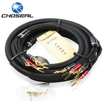Choseal Top Level HI-FI Speaker Wire With U Jack Home Theater Surround Sound System Amplifier OCC Audio Cable Braided LB5108(China)