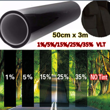 Car window tint film 50cm*300cm glass VTL 5% roll black for car side window house commercial solar protection summer car sticker