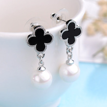 Fashion Rhodium/Gold-color Long Earring Classic Black Four Leaf Clover Simulated-pearl Stud Earrings Gift for Girl Jewelry(China)