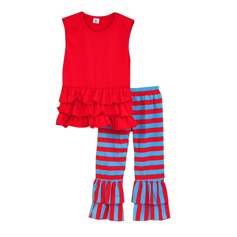2016 New Arrival Girls Spring Clothes Set Sleeveless Red Top Multi-layers Hem Contrast Color Striped Kids Ruffle Pants S027<br><br>Aliexpress