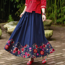 Elastic Waist Women Skirt Chinese Vintage Saia Traditional Jupe Cotton Linen Maxi Skirts Folk Style Long Skirt With Pockets