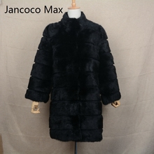 Jancoco Max 2017 New Winter Real Rabbit Fur Jacket Warm Soft Long Fur Coat Women Christmas Dress S1675(China)