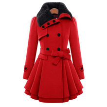 Winter Women's Faux Fur Collar Imitation Wool Blend Overcoats Double-breasted Tiered Bottom Ruffles Flare Dress Coat Warm wz097