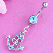 Fashion Charming Hot Sell Rhinestone Anchor Dangle Button Barbell Belly Navel Ring Bar Body Piercing navel jewellery Nickel free