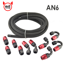 evil energy AN6 Nylon Braided Light Weight Oil Fuel Hose 5M Black+AN6 Swivel Fitting Red And Black Hose End Oil Cooler Kits(China)