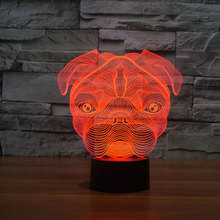 The Cartoon Cute Pug Dog Night Light Baby Animal Led Light Shape LED Lamp 3D Baby Night Light Belldog for kids toys dropshipping