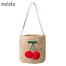Meloke 2018 hot sales handmade cute cherry ball shoulder bag straw bags beach bags bucket holiday bags for girls MN669(China)