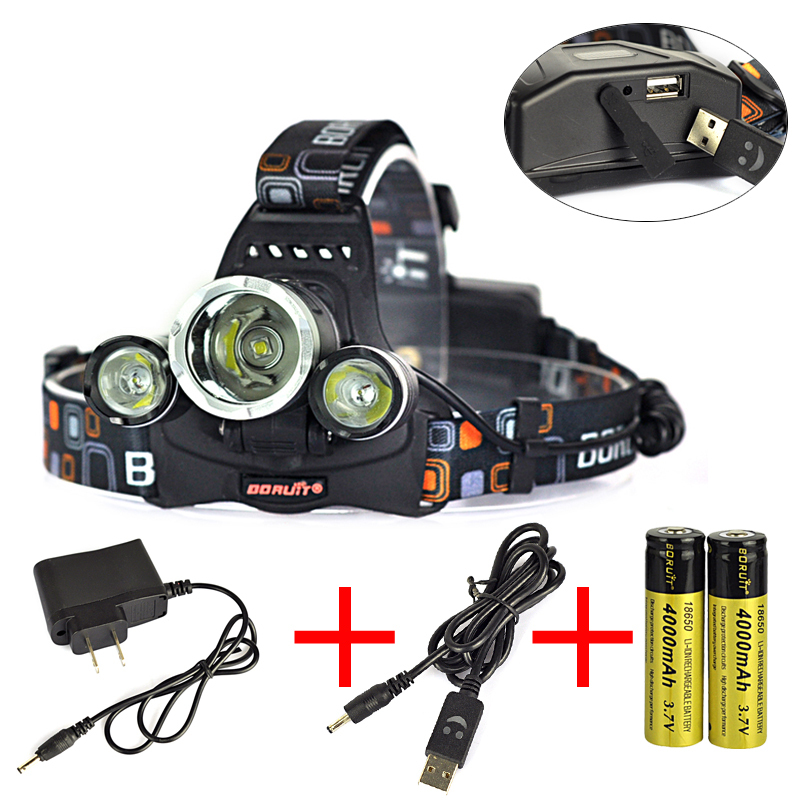 Lifetime Guarantee! 3*XM-L L2 LED Rechargeable Head Torch 6000 Lumens Headlight Head Lamp Lanterna Headlamp+2x 18650+Charger<br><br>Aliexpress