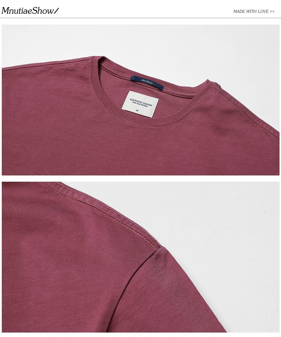 SIMWOOD 2018 Automne À Manches Longues T-shirt Hommes 100% Pur Coton Slim Fit Drôle de Mode De Poche Tops Haute Qualité TC017004 23
