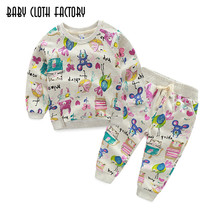 Free Shipping Kids Clothing Sets 2016 Winter Girls Clothes Graffiti Prints Sweatshirts+Casual Pants 2Pcs for Children suits(China)