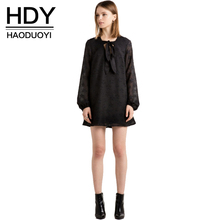HDY Haoduoyi Stars Sweet Chic Women Dress Casual Loose Back Zipper Female Vestidos Tie Front Sweet Solid Black  Basic Mini Dress
