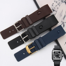 Women's Mechanical Watch Accessories 20MM Black | Brown | Blue PU Rubber Strap Buckle FOR SANTOS 100 W20126X8(China)