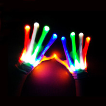 Creative LED Finger Lighting Flashing Glow Mittens Gloves Rave Light Festive Event Party Supplies Magic Luminous Cool Gloves