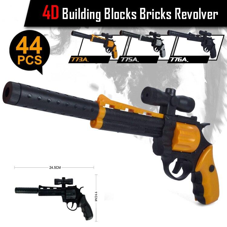4D DIY Building Blocks Bricks Revolver with Silencer CS Toys Gun Gifts for children Christmas<br><br>Aliexpress
