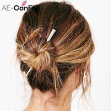 AE-CANFLY Wholesale Fashion Simple Women Long Pin Hair Pin Stick Metal Gold Silver Hair Fork Accessories 2H2012(China)