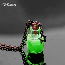 SEDmart Magic Glow In The Dark Vintage Luminous Pendant Necklace Fluorescent Light Wish Bottle Mobile Phones Chain Necklace Gift