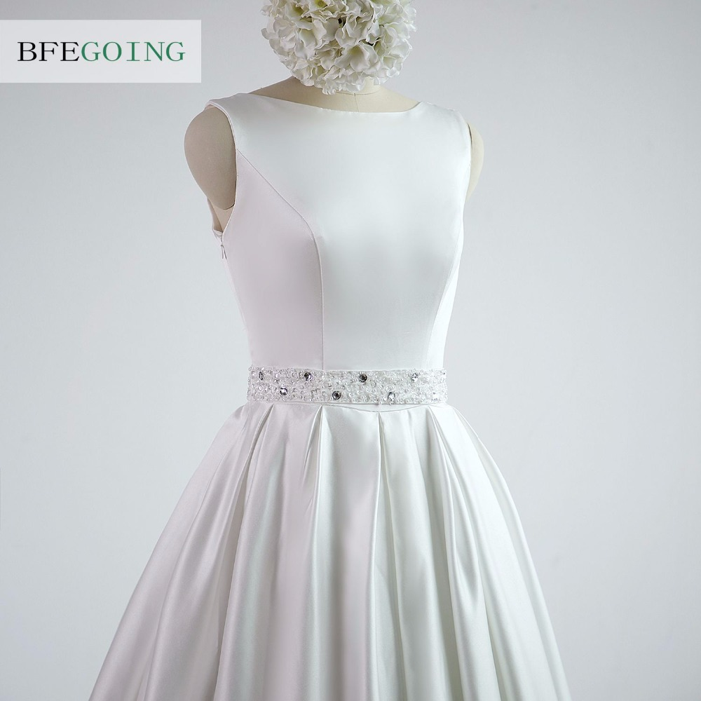 A-line Satin Boat Neck Wedding dress Floor-Length Chapel Train Sleeveless Beading Belt Real/Original Photos Custom made 3