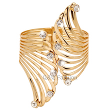 Gold Big Cut Out Guardian Angel Fairy Wing Crystal Hinged Bracelet Bangle Cuff Jewelry 2017 New(China)