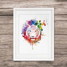 Tiger Head Art Painting Animal Art Watercolor Paint Tiger Wall Hanging Art Picture Home Decor Nursery Kids Room Decor  E201