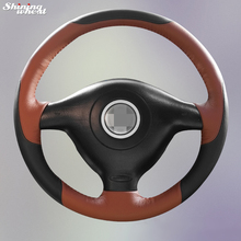Shining wheat Hand-stitched Black Brown Leather Car Steering Wheel Cover for Volkswagen VW Golf 4 Mk4 Old VW Passat B5