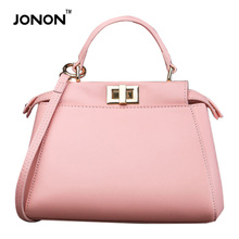 JONON  Luxury Brand Designer Women Real Leather Totes Handbags Messenger Bags Ostrich Grain Crossbody  Retro Fashion Bags Girls