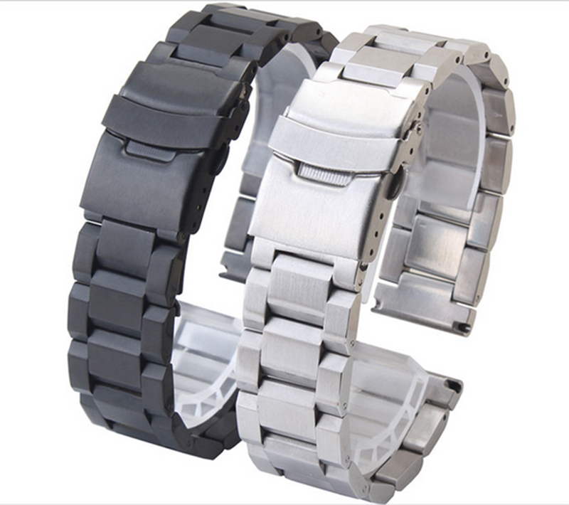 Promotion Black Stainless Steel Watch Band Strap Mens Straps Metal Bracelet  18mm 20mm 22mm 24mm mens High Quality watchbands<br><br>Aliexpress