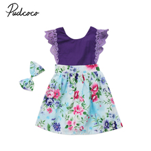 Pudcoco New Kid Girl Floral Summer Dress Infant Baby Girl Flying Sundress Toddler Baby Girls Sleeveless Dress Purple Headwears(China)