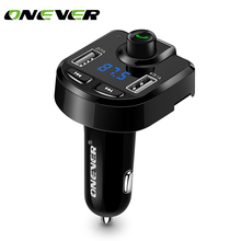 Onever FM Transmitter Aux Modulator Bluetooth Handsfree Car Kit Car Audio MP3 Player with 3.1A Quick Charge Dual USB Car Charger(China)