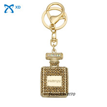 1pcs Alloy keychain car perfume bottle Rhinestone Crystal pendant fashion women bag ornaments female friends gifts best choice